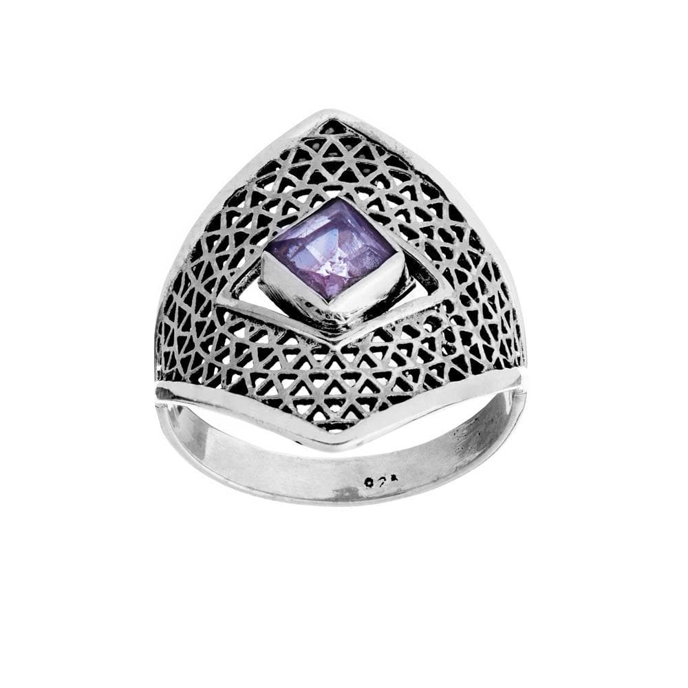 Load image into Gallery viewer, Sterling Silver Amethyst Armour Ring