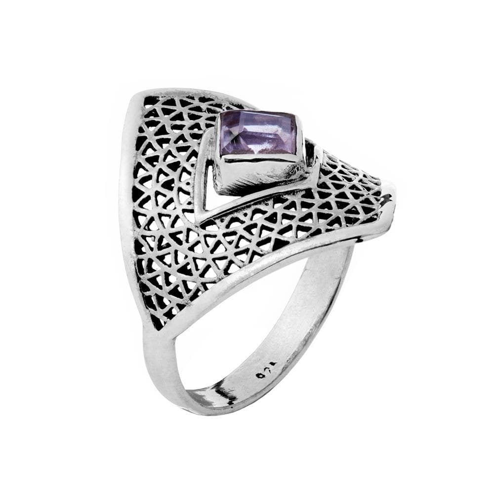 Sterling Silver Amethyst Armour Ring