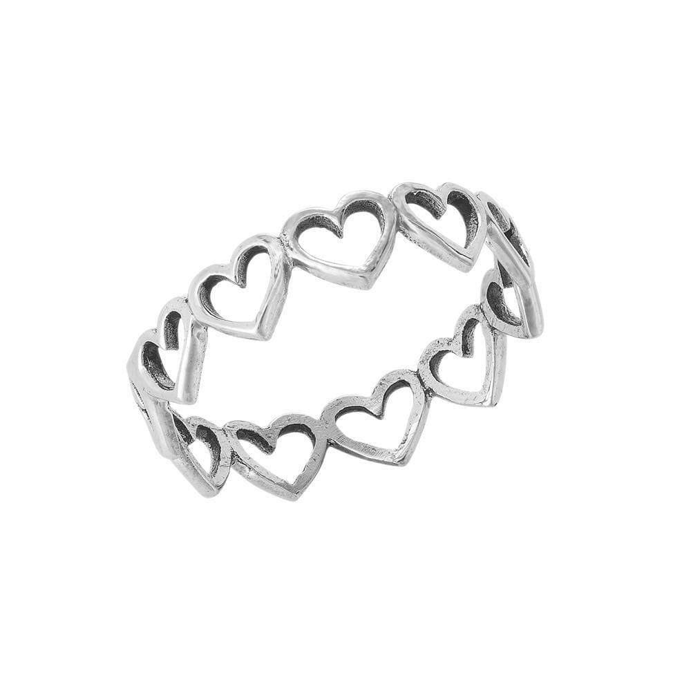 Sterling Silver Multi-Heart Band Ring