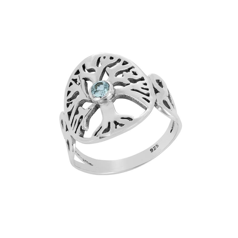Sterling Silver Medallion Tree of Life Blue Cubic Zirconia Ring