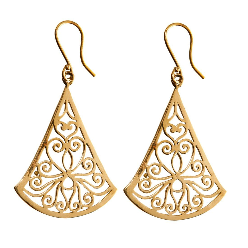 Gold Brass Filigree Tribal Dangle Earrings - 81stgeneration