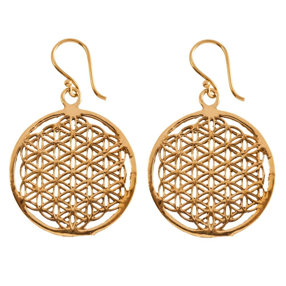 Gold Brass Disc Flower Of Life Sacred Geometry Earrings