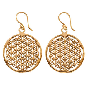 Load image into Gallery viewer, Gold Brass Disc Flower Of Life Sacred Geometry Earrings - 81stgeneration