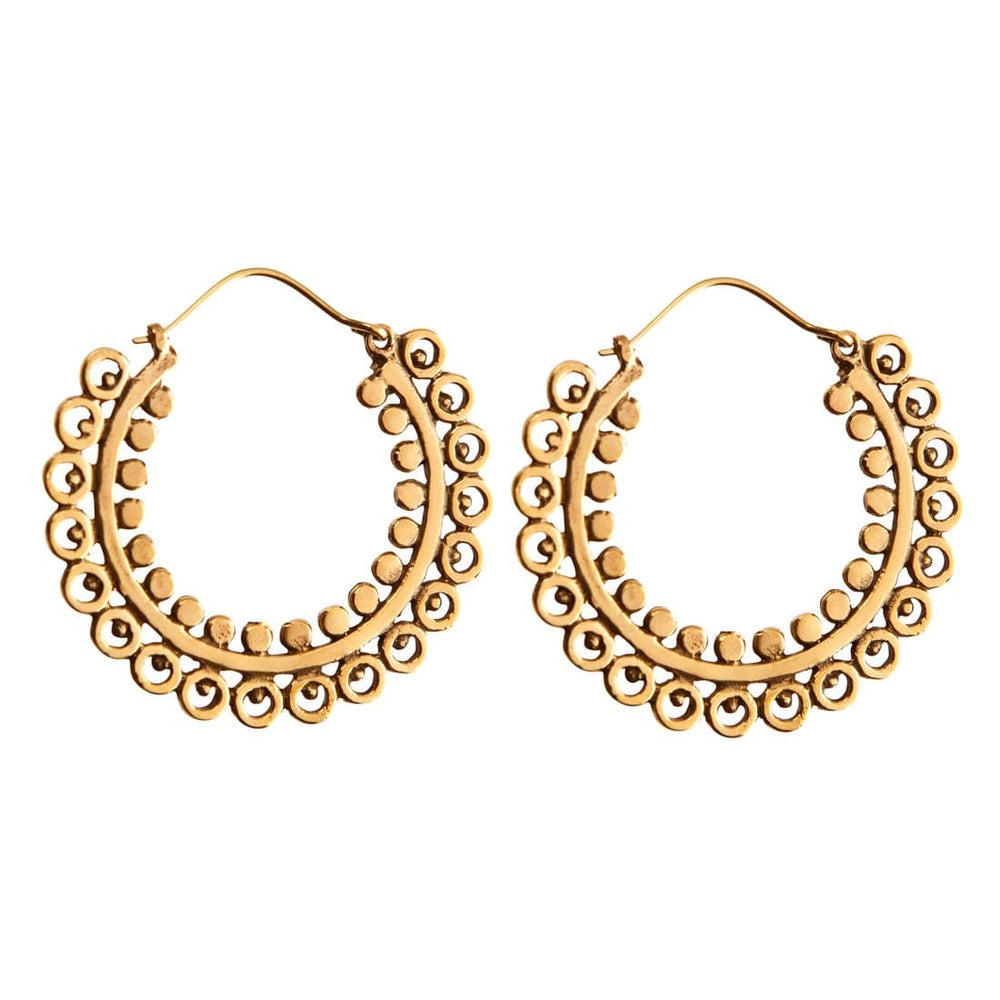 Load image into Gallery viewer, Gold Brass Round Tribal Hoop Earrings