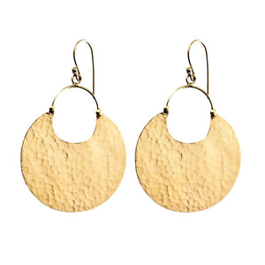 Gold Brass Hammered Disc Dangle Earrings