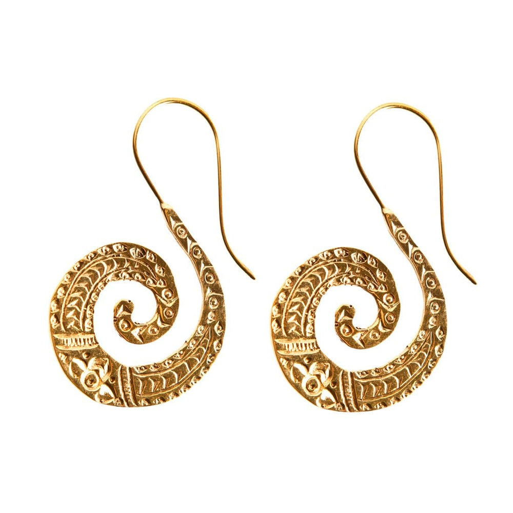 Load image into Gallery viewer, Gold Brass Patterned Spiral Dangle Earrings - 81stgeneration
