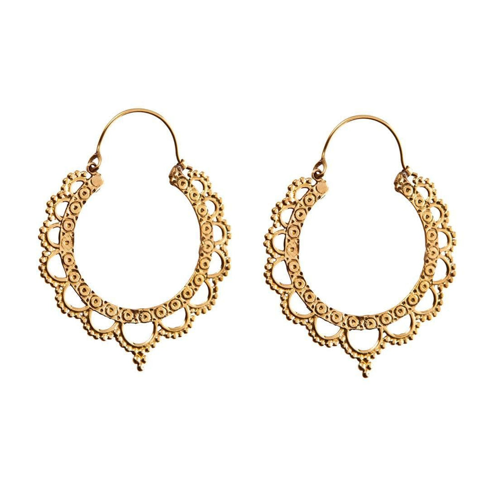 Gold Brass Indian Ethnic Round Hoop Earrings