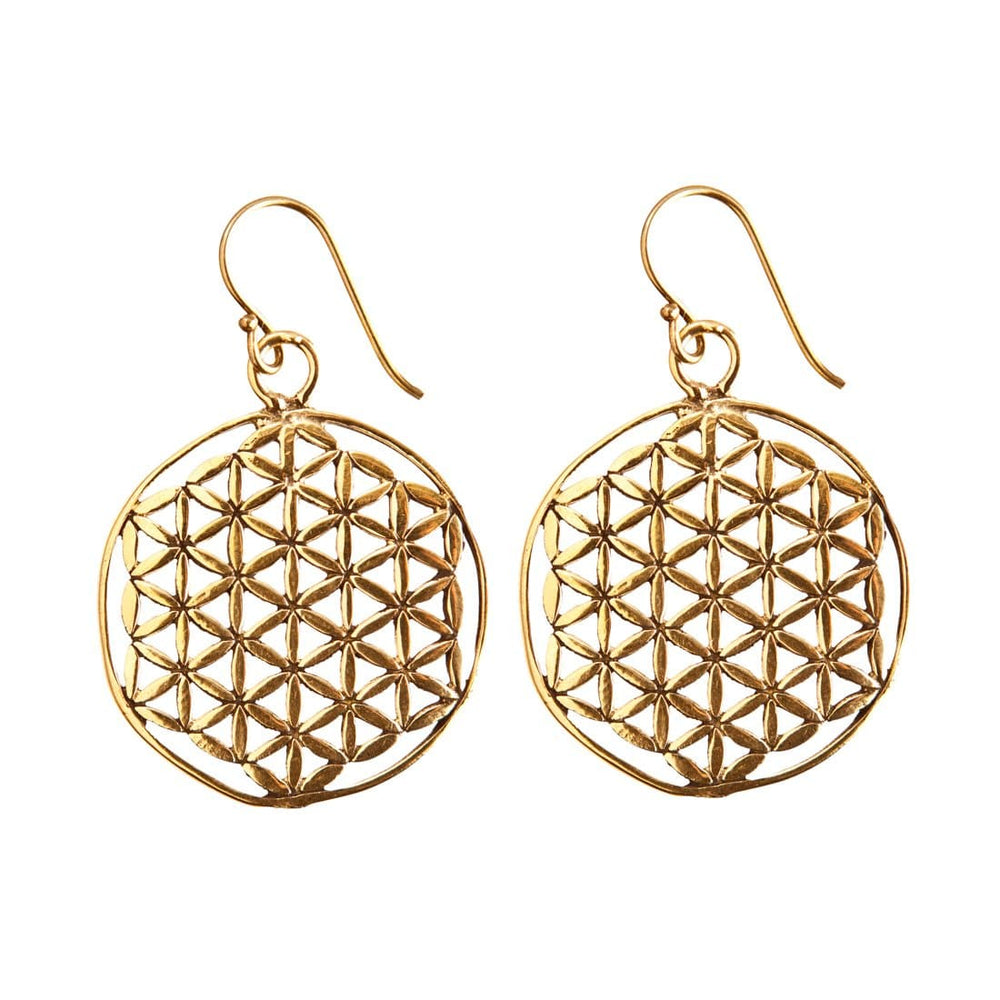 Gold Brass Flower Seed of Life Sacred Geometry Earrings - 81stgeneration