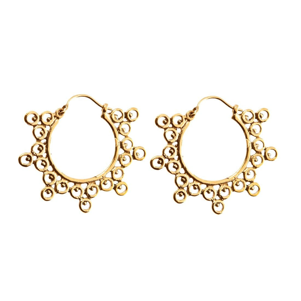 Gold Brass Indian Ethnic Circles Round Hoop Earrings - 81stgeneration