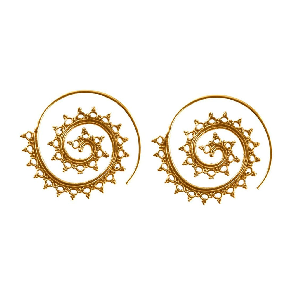 Gold Brass Indian Ethnic Circles Round Spiral Earrings
