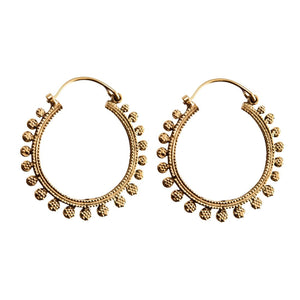 Gold Brass Ethnic Circles Round Hoop Earrings - 81stgeneration