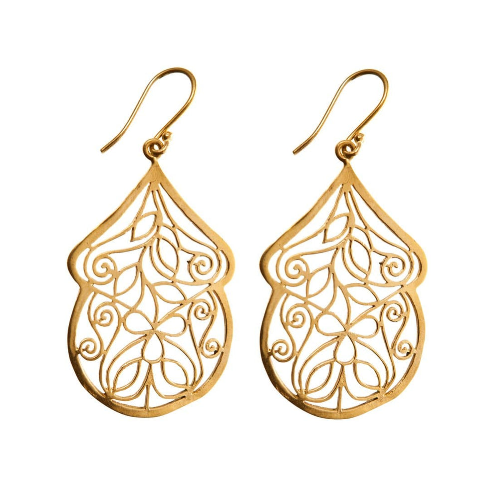 Load image into Gallery viewer, Gold Brass Filigree Peacock Feather Swirl Earrings