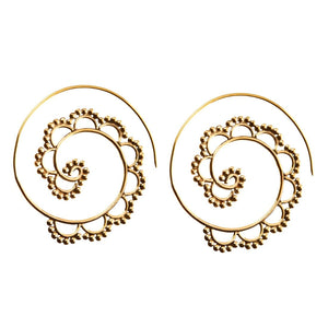 Gold Brass Spiral Ethnic Tribal Earrings