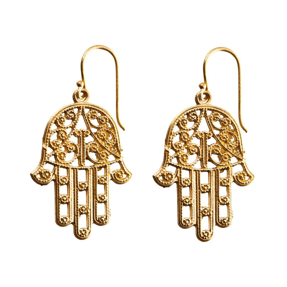 Gold Brass Filigree Fatima Hand Kabbalah Earrings