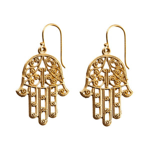 Load image into Gallery viewer, Gold Brass Filigree Fatima Hand Kabbalah Earrings - 81stgeneration