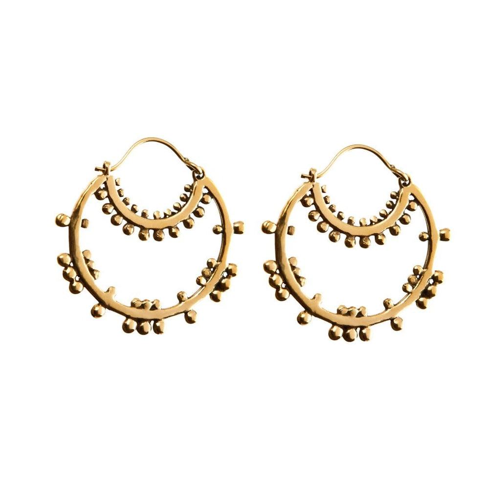 Gold Brass Ethnic Tribal Hoop Dotwork Earrings