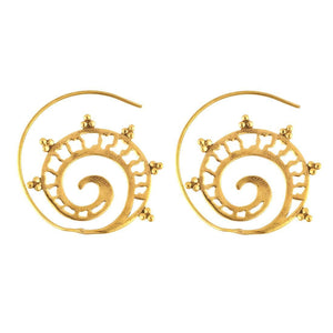 Gold Brass Ethnic Tribal Spiral Dotwork Earrings