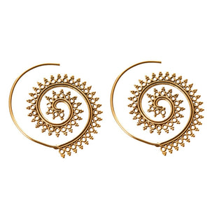 Gold Brass Spiral Indian Ethnic Dotwork Tribal Earrings