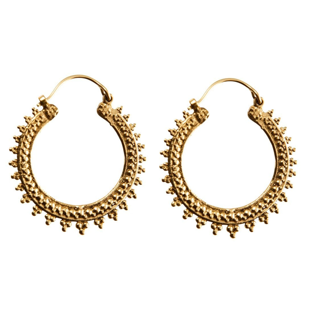 Load image into Gallery viewer, Gold Brass Hoop Indian Dotwork Ethnic Earrings - 81stgeneration
