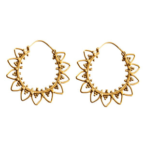 Gold Brass Flower Circle Ethnic Hoop Earrings - 81stgeneration