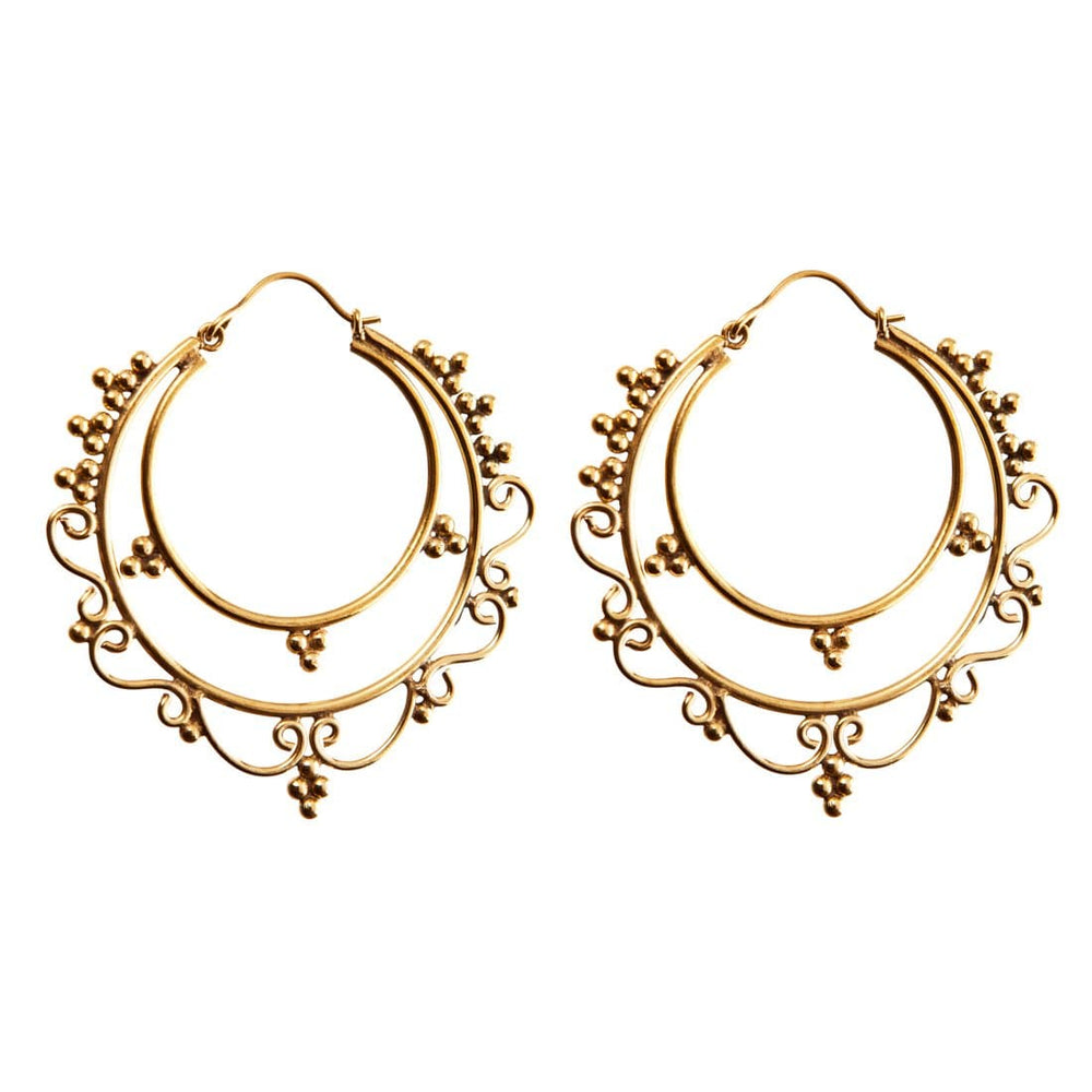Gold Brass Large Round Ethnic Hoop Earrings - 81stgeneration