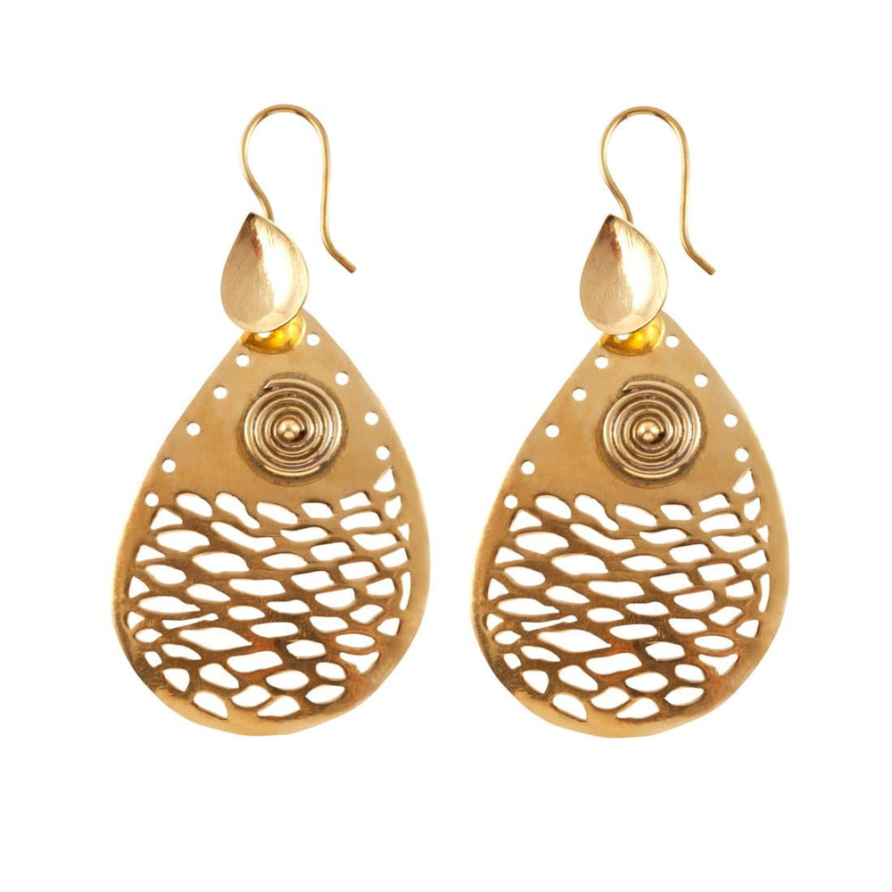 Load image into Gallery viewer, Gold Brass Spiral Teardrop Ethnic Dangle Earrings