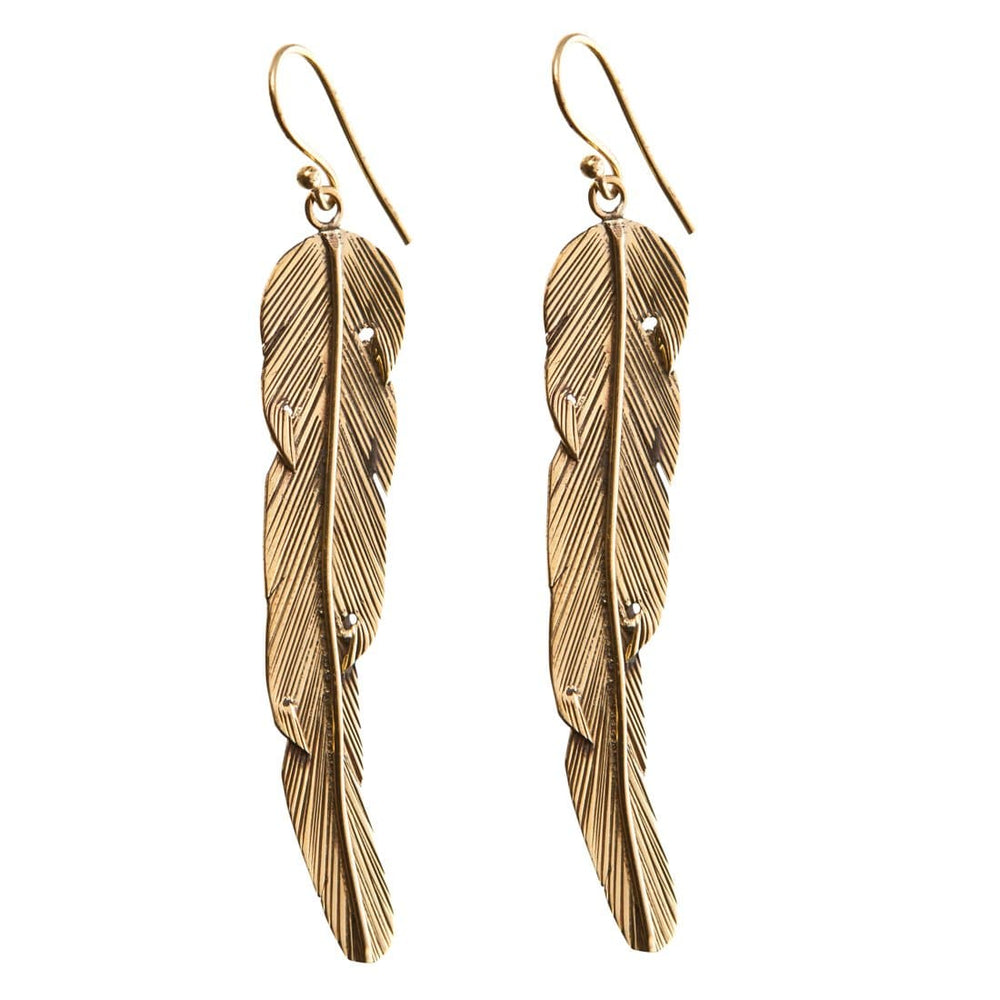 Gold Brass Long Feather Ethnic Dangle Earrings