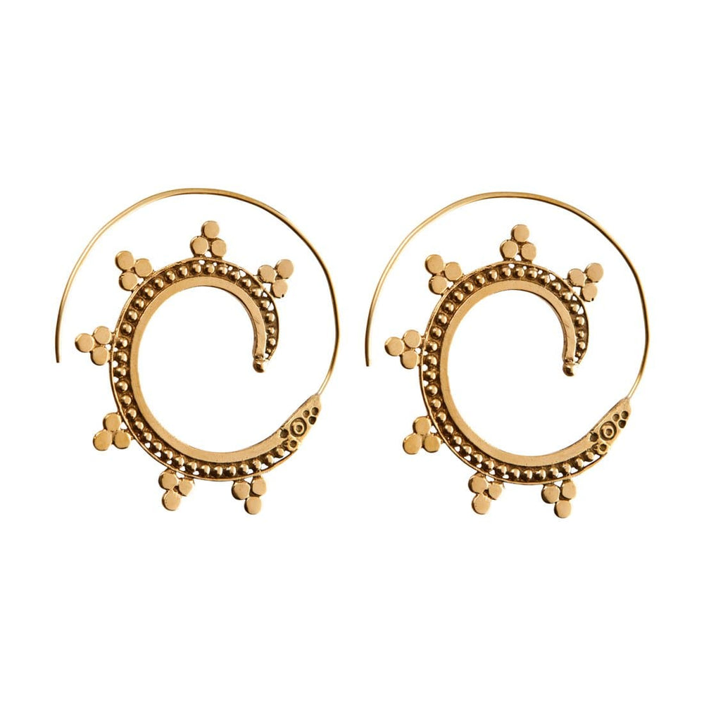 Load image into Gallery viewer, Gold Brass Spiral Dotwork Ethnic Earrings