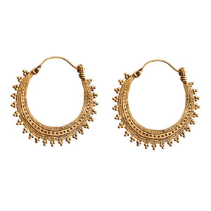 Load image into Gallery viewer, Gold Brass Indian Ethnic Hoop Earrings