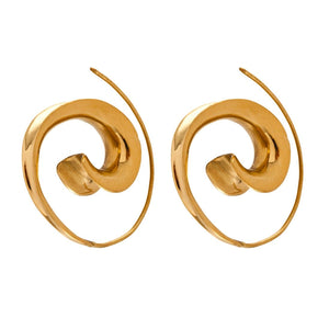 Gold Brass Spiral Ethnic Earrings