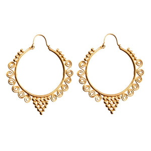 Gold Brass Large Spiral Ethnic Hoop Earrings