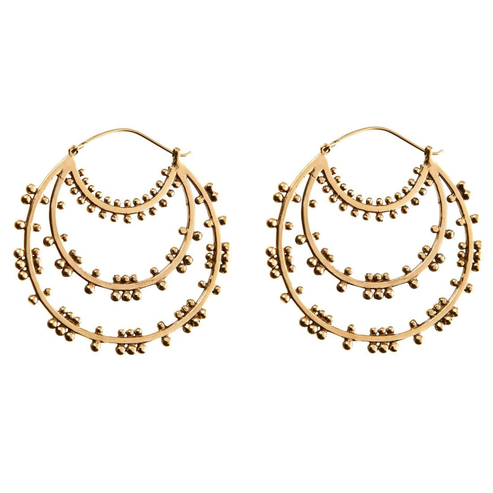 Gold Brass Large Dotwork Ethnic Hoop Earrings