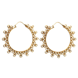Gold Brass Round Circle Ethnic Hoop Earrings