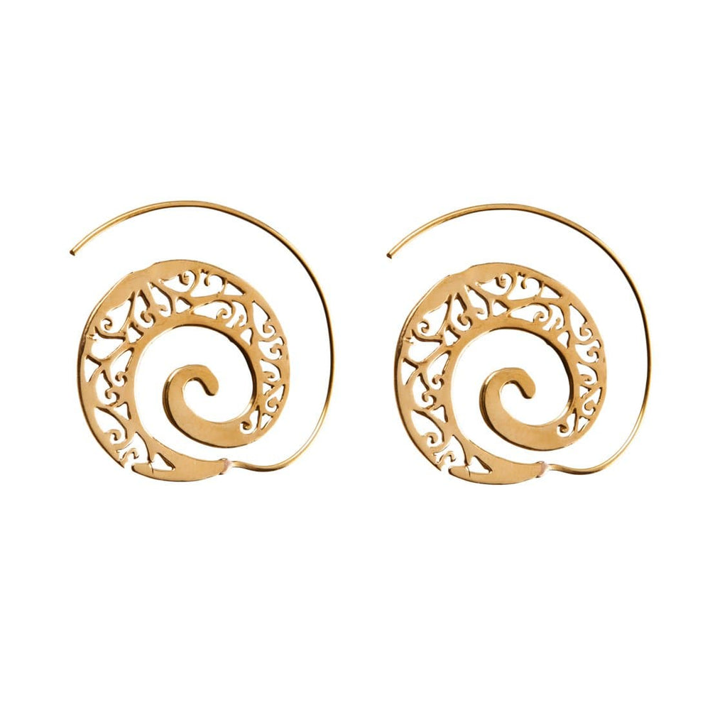 Gold Brass Filigree Spiral Ethnic Earrings