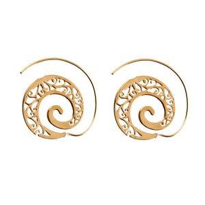 Load image into Gallery viewer, Gold Brass Filigree Spiral Ethnic Earrings