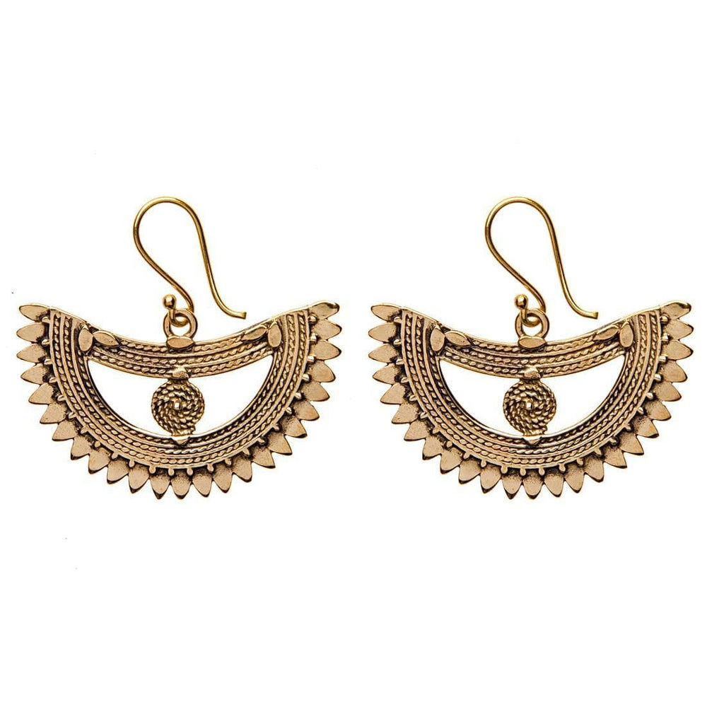 Load image into Gallery viewer, Gold Brass Egyptian Tribal Ethnic Earrings