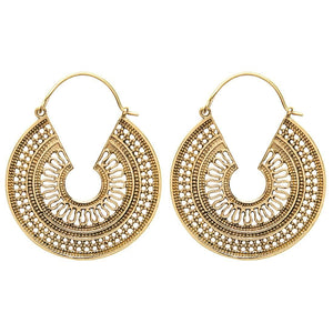 Load image into Gallery viewer, Gold Brass Indian Scroll Tribal Earrings