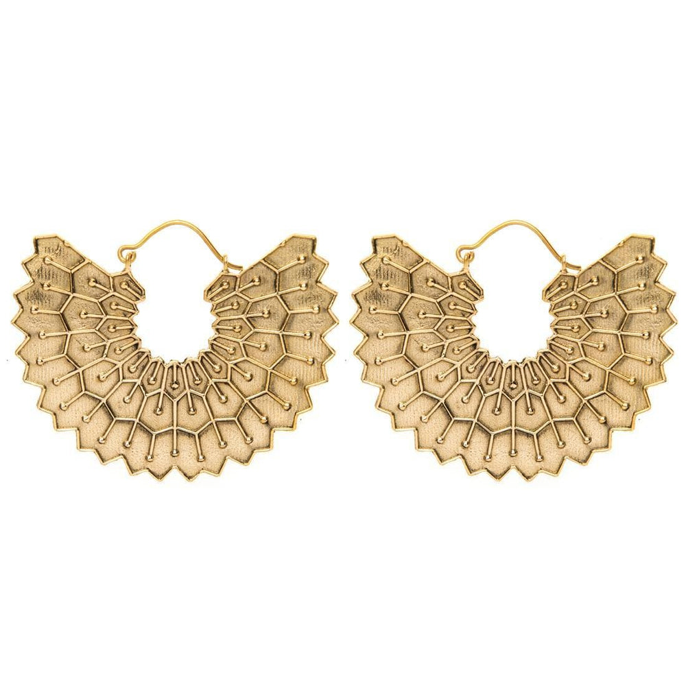 Load image into Gallery viewer, Gold Brass Egyptian Wing Tribal Earrings