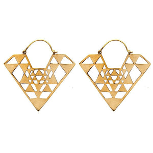 Gold Brass Diamond Geometric Earrings