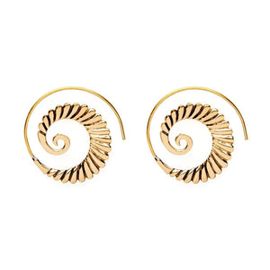 Gold Brass Spiral Shell Ethnic Earrings