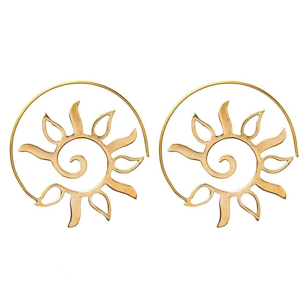 Load image into Gallery viewer, Gold Brass Spiral Sun Leaf Tribal Earrings
