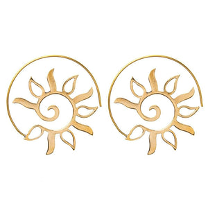 Gold Brass Spiral Sun Leaf Tribal Earrings