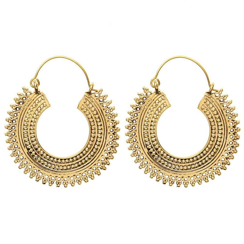 Load image into Gallery viewer, Gold Brass Indian Creole Tribal Earrings