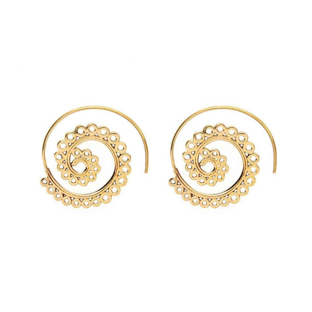 Gold Brass Spiral Circle Ethnic Earrings