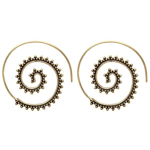 Gold Brass Indian Spiral Tribal Earrings