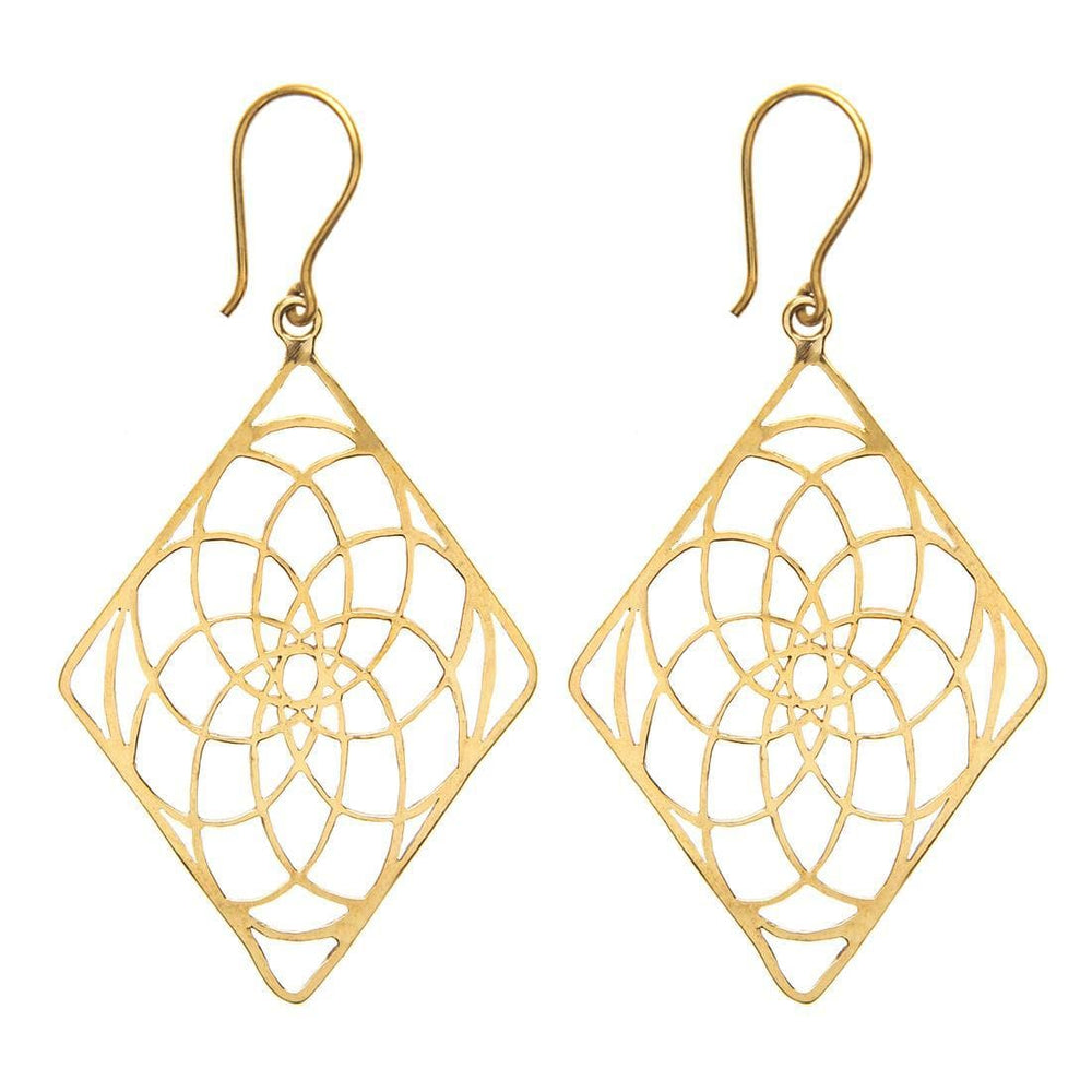Load image into Gallery viewer, Gold Brass Sacred Geometry Flower of Life Earrings