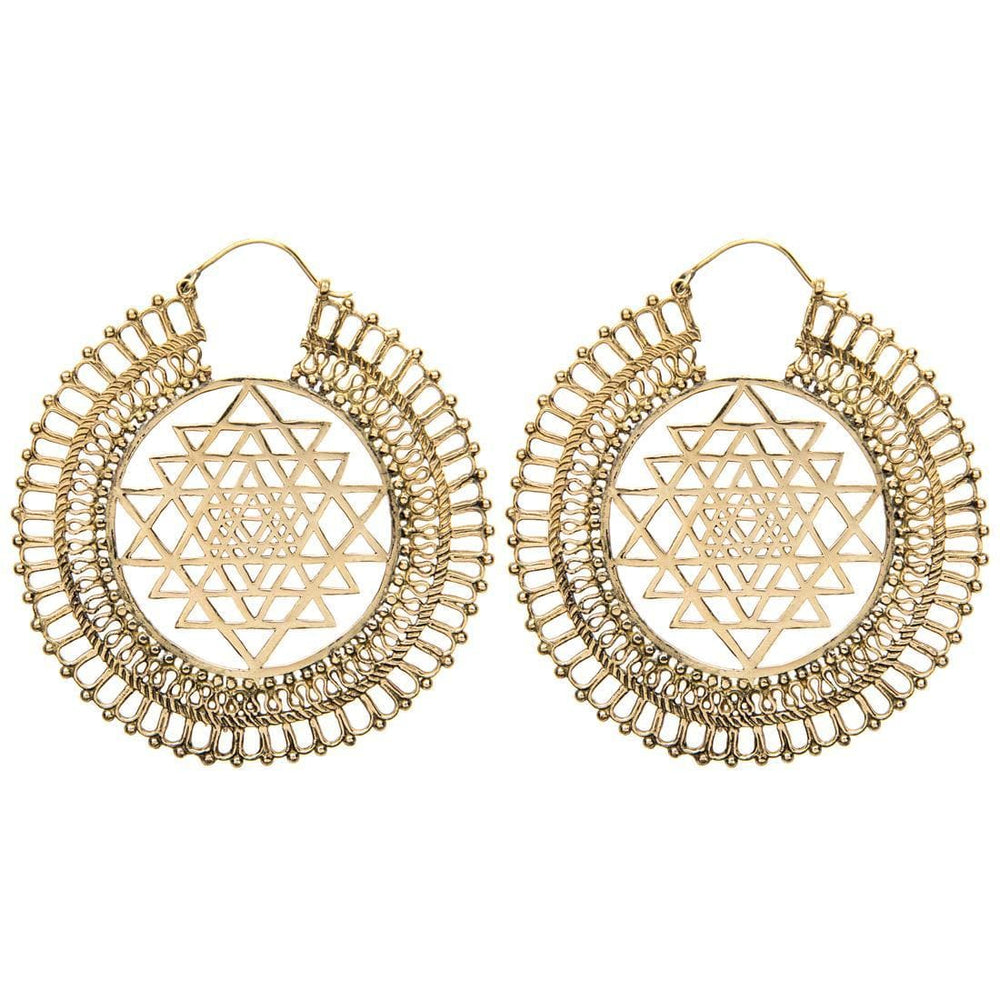 Gold Brass Large Cosmic Yantra Tribal Earrings