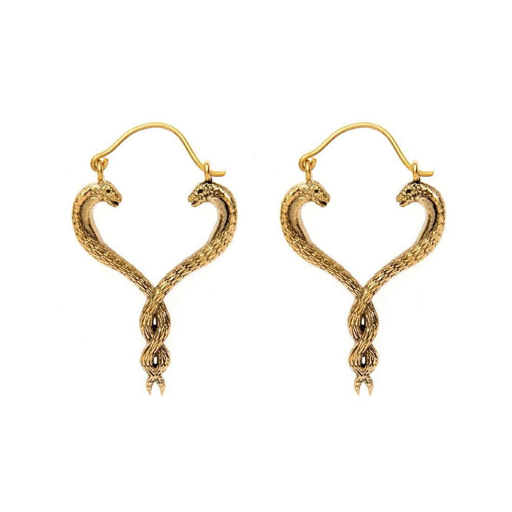 Gold Brass Intertwined Snakes Tribal Earrings