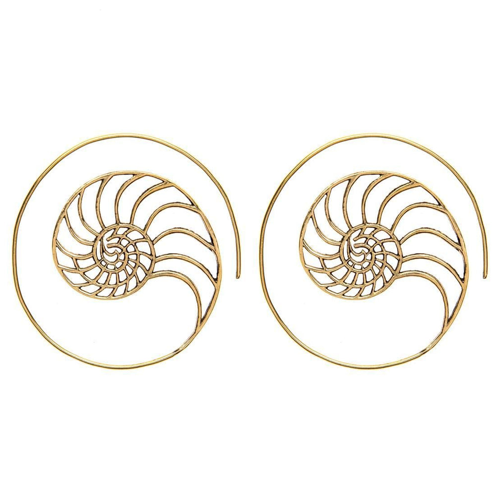 Load image into Gallery viewer, Gold Brass Golden Ratio Spiral Earrings