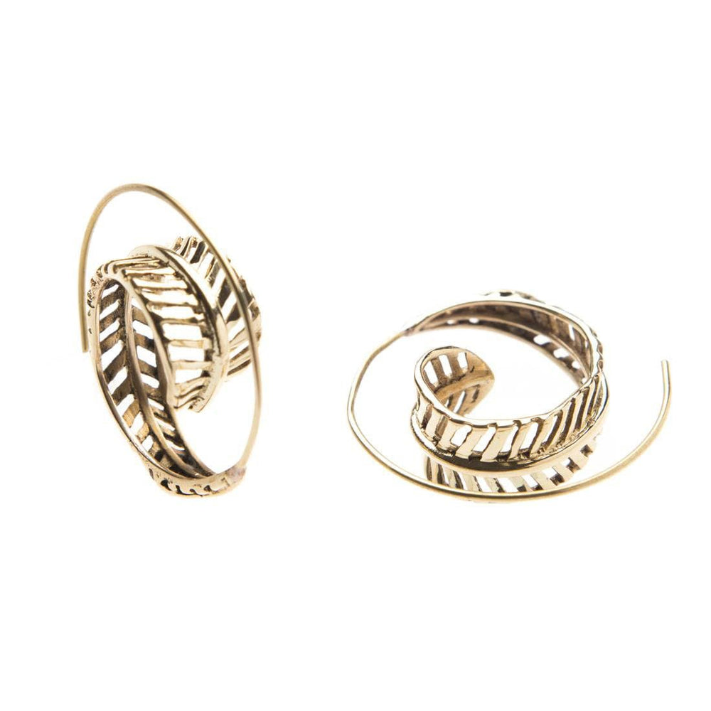 Load image into Gallery viewer, Wing Spiral Fern Leaf Ethnic Earrings